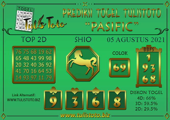 Prediksi Togel PASIFIC TULISTOTO 05 AGUSTUS 2021