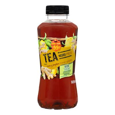 Refresco té negro sabor limón y jengibre Hacendado