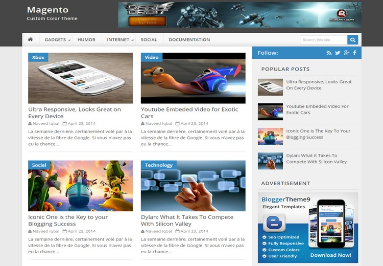 Magento Blogger Template with sample post