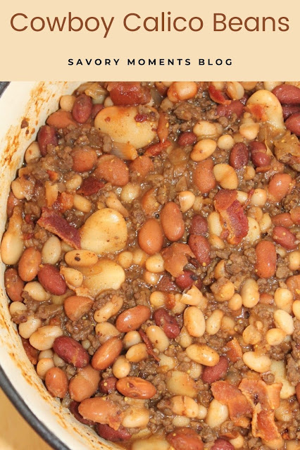 Dutch oven full of finished cowboy beans.