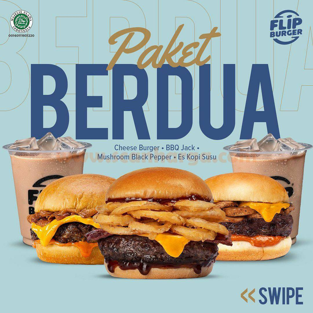 Promo Flip Burger Paket Berdua harga mulai Rp. 86.364