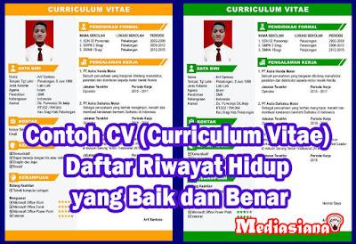 Contoh CV (Curriculum Vitae) Daftar Riwayat Hidup Baik dan Benar
