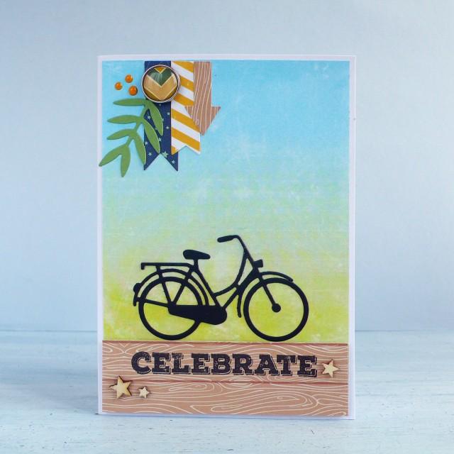 Card maschile con bicicletta