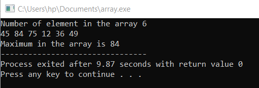 array example in c++