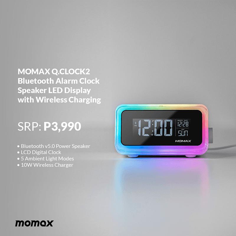 MOMAX Q.CLOCK 2 Bluetooth Alarm Clock with wireless charging
