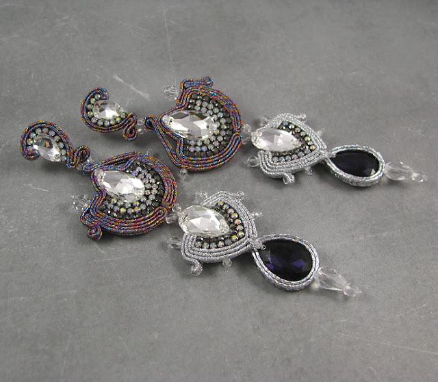 Swarovski i srebrny sutasz, długie kolczyki z kryształami i cyrkoniami