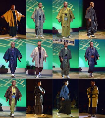 沖縄の染織物で男性の着物ショー #琉球絣 #琉球かすり #南風原花織 #喜屋武八枚