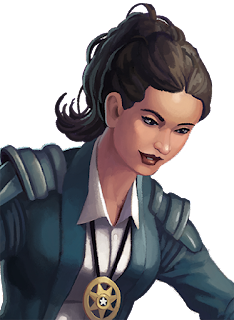 Pam is a pretty Latina detective who wears her long dark hair in a ponytail.