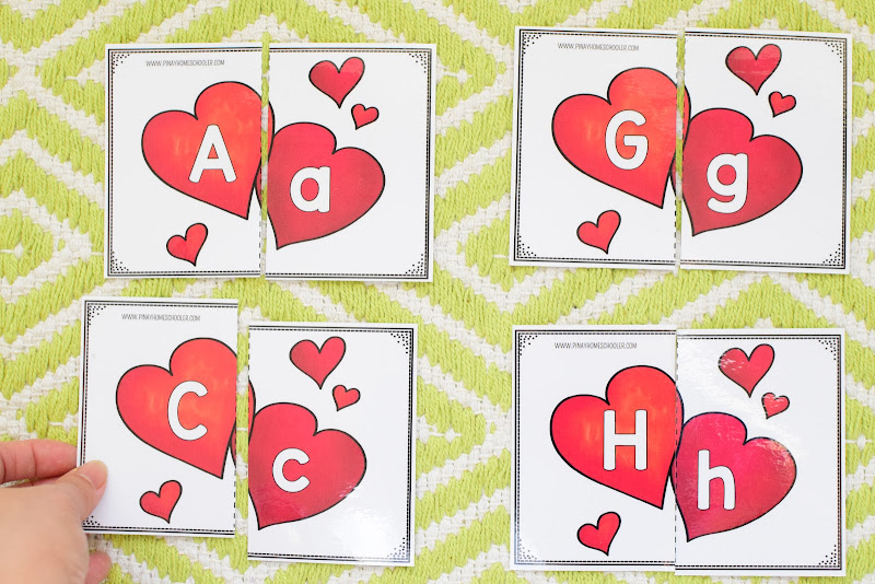 Valentine's Day Themed Unit: Hearts Uppercase and Lowercase Puzzles