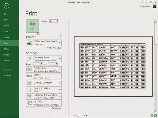 Cara Mencetak Dokumen Microsoft Excel 2013 Menggunakan Printer