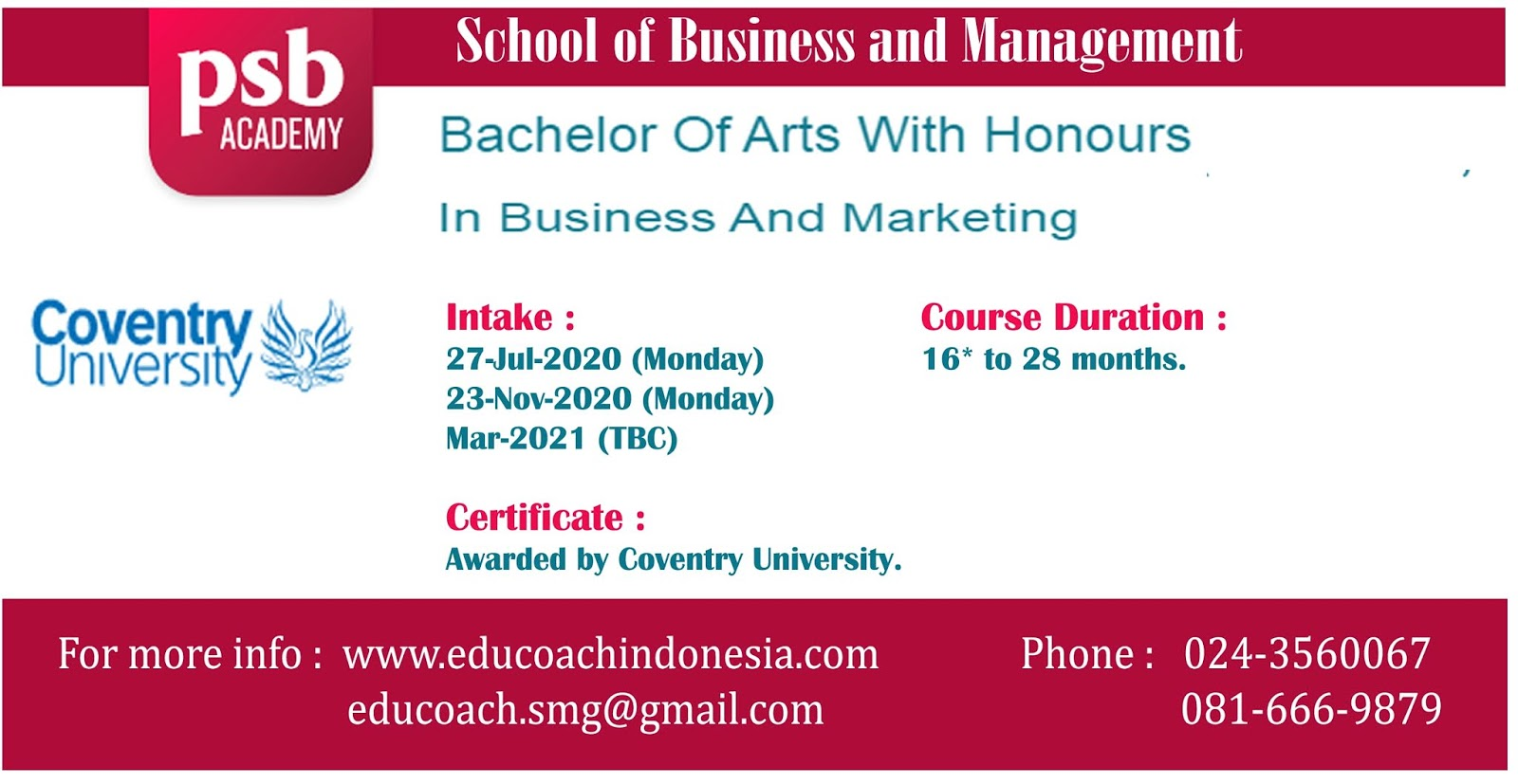 Bachelor Of Arts With Honours In Business And Marketing | University of Coventry | PSB Academy Singapura