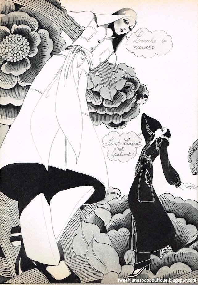 Designer Haute Couture, Guy Laroche,  Yves Saint-Laurent , Maxi Coats, Paris Fashion, illustration 1970
