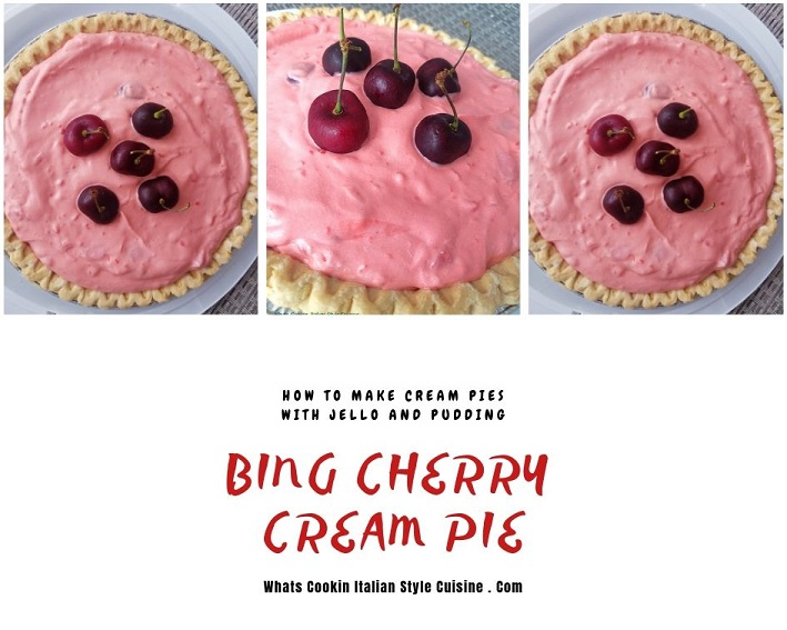 this is a cream pie made with jello pudding and whipped cream with bing cherries