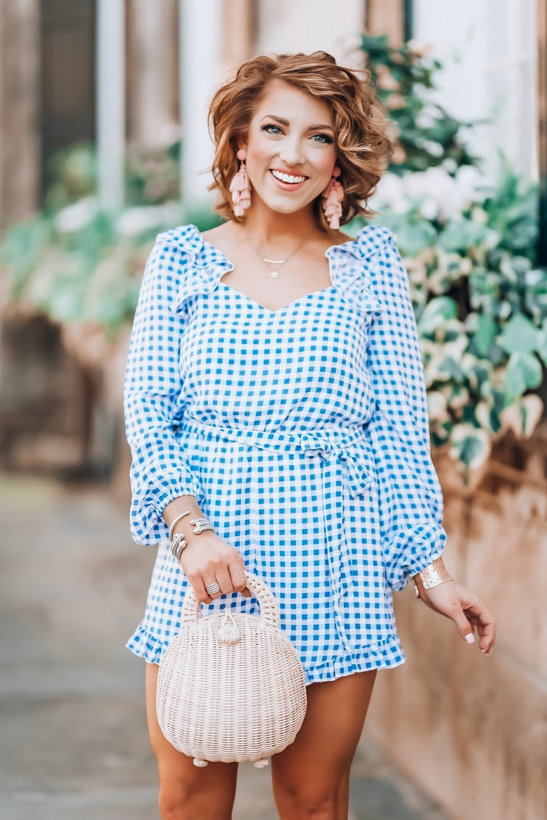 Blue and White Gingham Ruffle Romper - Something Delightful Blog #springstyle #gingham #blueandwhite #charlestonsc #summerstyle