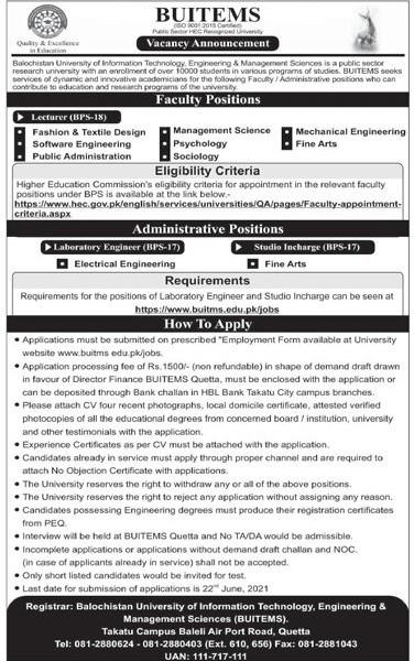 www.buitms.edu.pk Jobs - Balochistan University of Information Technology Engineering & Management Sciences BUITEMS Latest Jobs 2021 in Pakistan