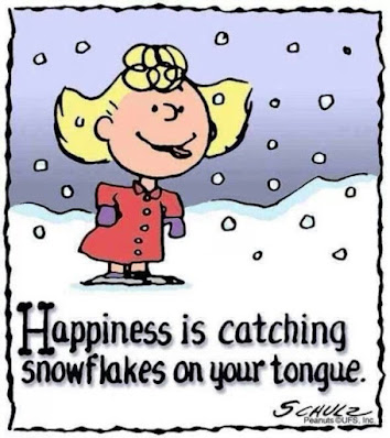 Sally, a character in the PEANUTS comic strip is trying to catch falling snowflakes on her tongue.