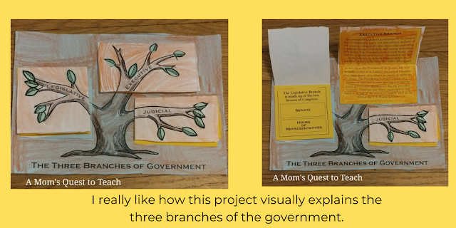 Text: I really like how this project visually explains the three branches of the government; image of The Three Branches project