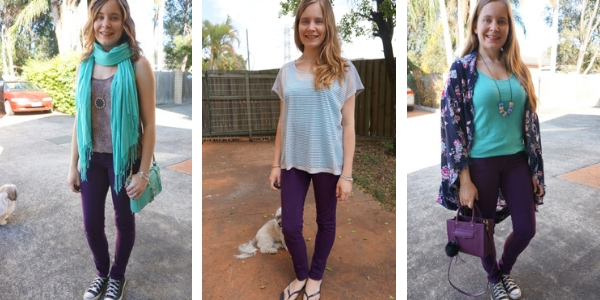 3 outfit ideas with turquoise and purple skinny jeans | awayfromtheblue