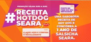 Promoção Receita Hot Dog Seara 1 Ano Salsicha 2021