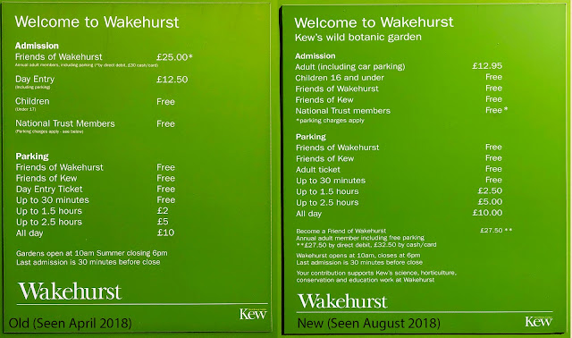 Sign showing various charges at Wakehurst, West Sussex.  April and August 2018.