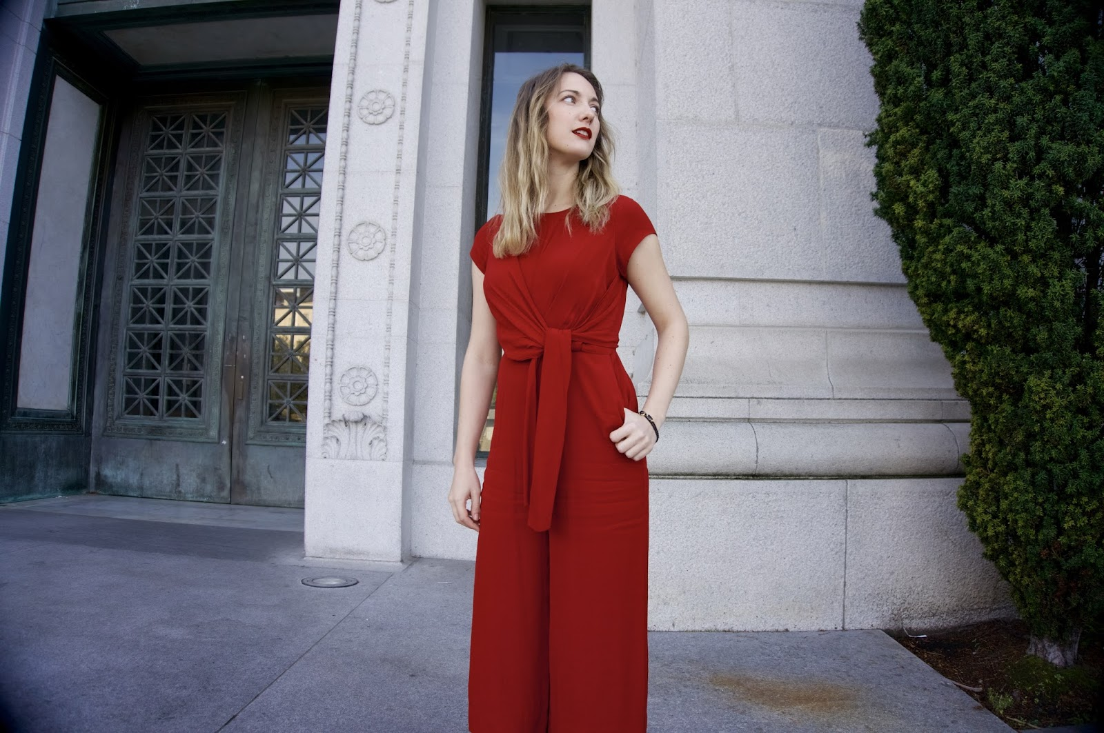 Wrapped In Red - Holiday Outfit - www.greysuede.com