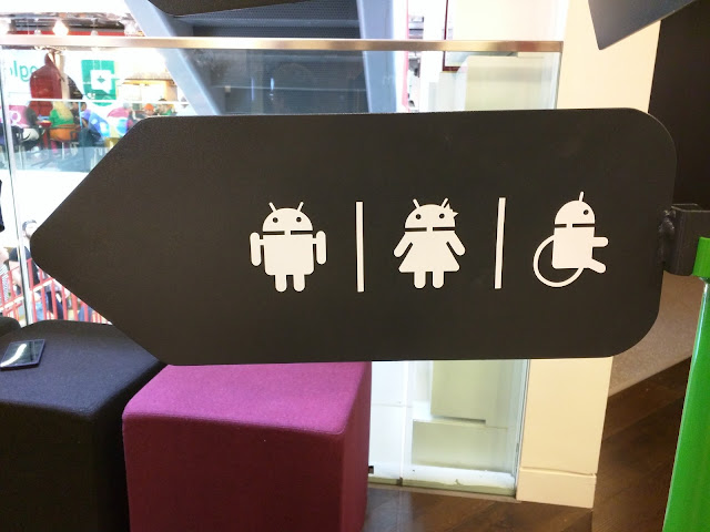 Android-themed bathroom sign at Google's offices in Dublin