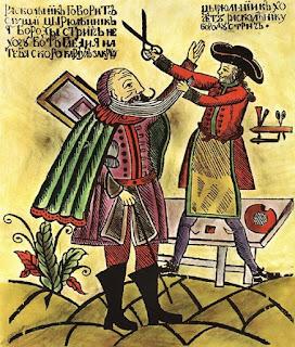 Caricatura de la época sobre el corte de barbas