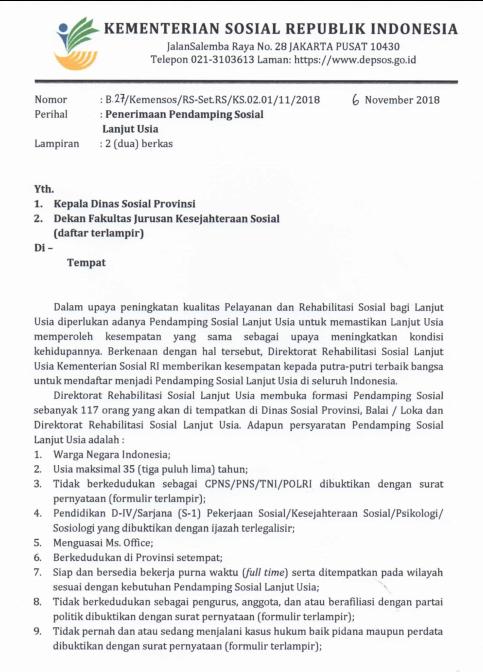 Penerimaan Pendamping Sosial Lanjut Usia Di Seluruh Indonesia tahun  REKRUTMEN (PENERIMAAN) PENDAMPING SOSIAL LANJUT USIA TAHUN 2018 DI SELURUH INDONESIA