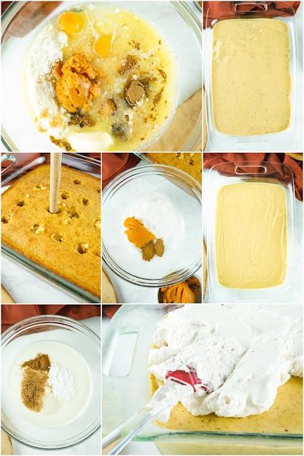 collage of cake process prep photos.