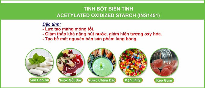 TINH BỘT BIẾN TÍNH ACETYLATED OXIDIZED STARCH (INS1451)