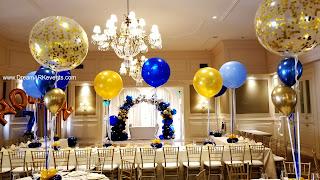 Big helium balloon centerpiece, gold confetti balloon centerpiece