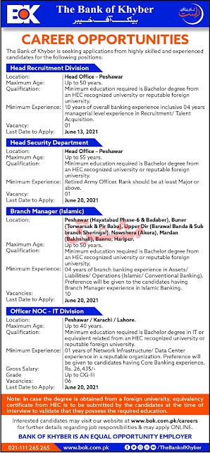 Bank of Khyber (BOK) Jobs 2021 – Latest Jobs in Pakistan 2021