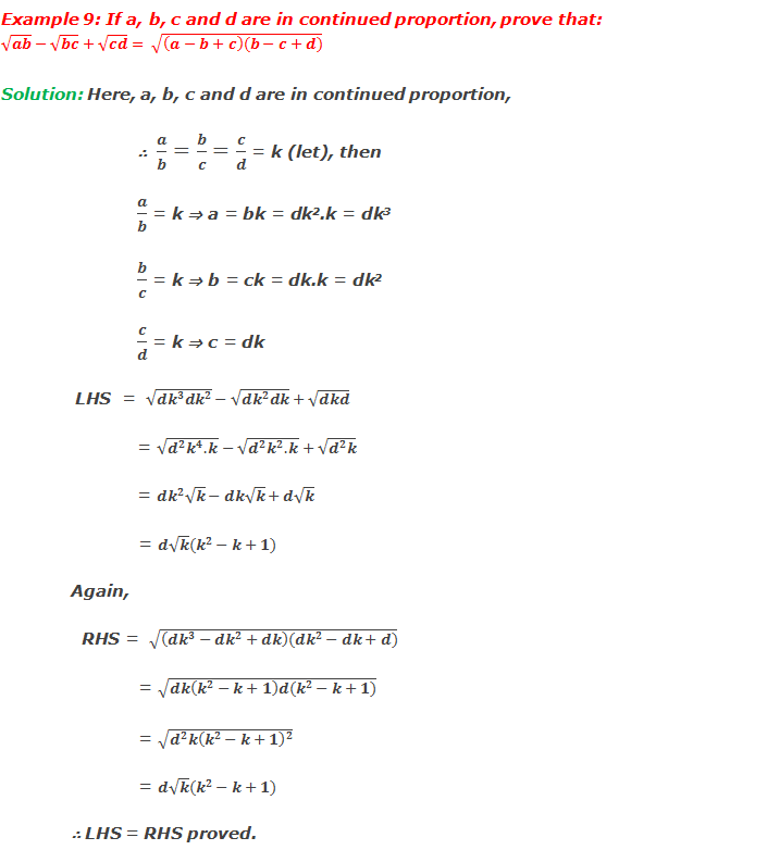 Example 9: If a, b, c and d are in continued proportion, prove that: √ab-√bc+√cd= √((a-b+c)(b-c+d))