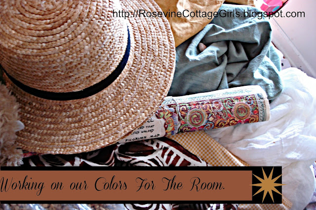 Adventure Room by Rosevine Cottage Girls | photo of a straw hat, map, fabric  swatches \ Text - working on colors for the room | rosevinecottagegirls.com