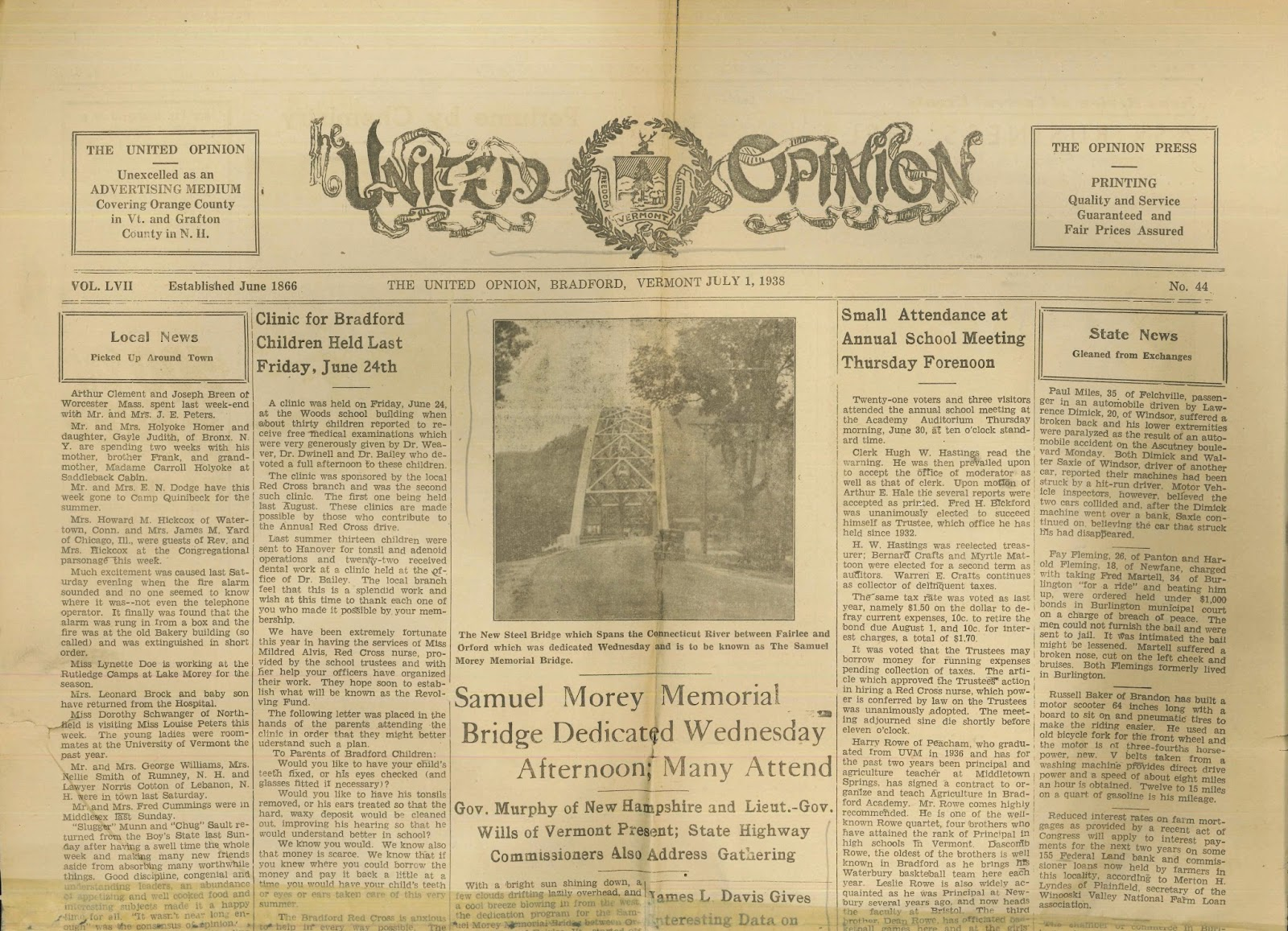 A newspaper including a piece on the Samuel Morey Memorial Bridge dedication.
