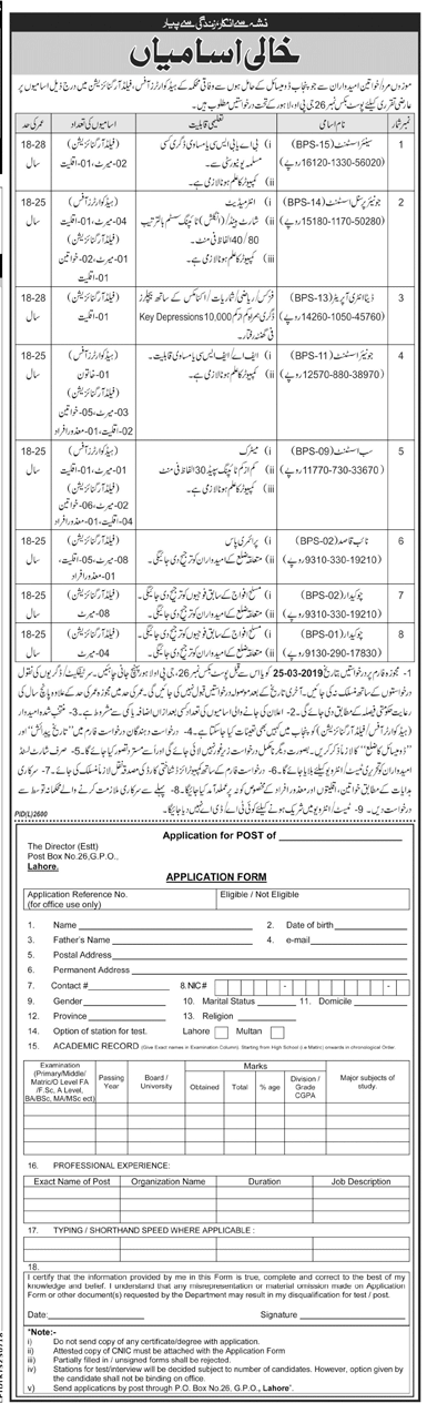 Federal Govt Jobs 2019 in Pakistan PO Box 26  Latest Federal Government Jobs