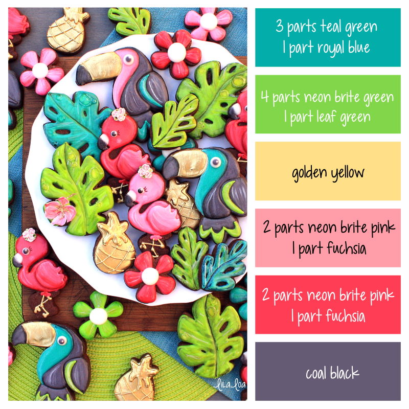 Brightly colored tropical decorated sugar cookies on a chocolate cookie - with color ratios for making icing