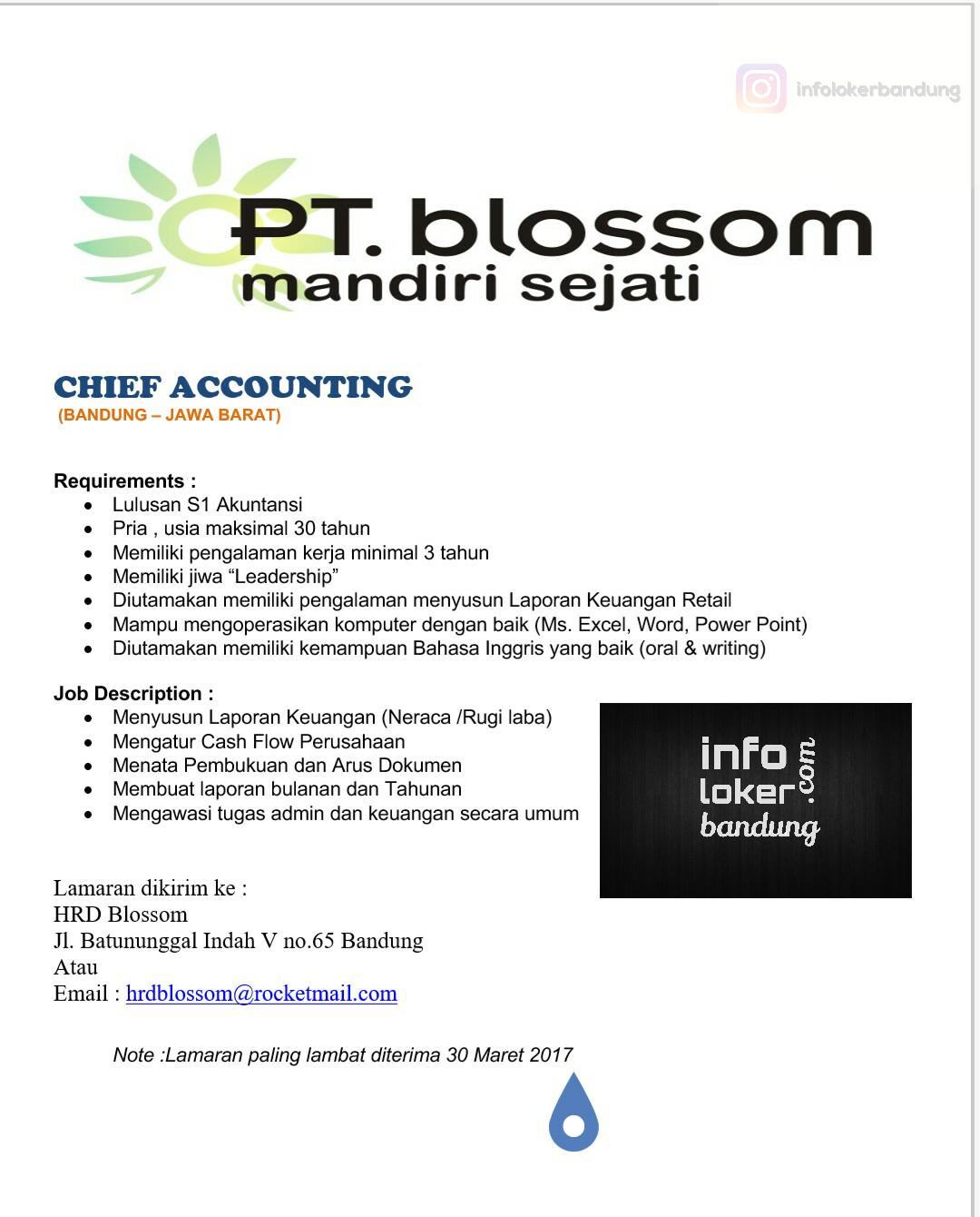 Lowongan Kerja PT. Blossom Mandiri Sejati Maret 2017