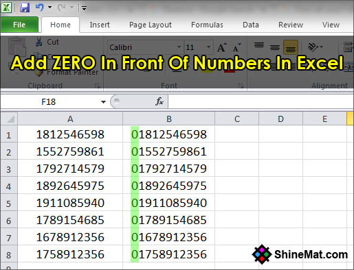 How to zero digit in front of a number in excel