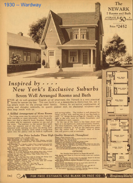 skinny entry gable Wardway Newark as seen in the 1930 catalog