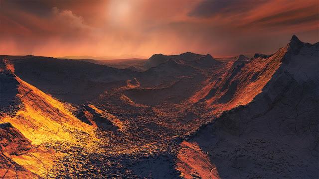 Ilustração artística da superfície de Barnard Star b