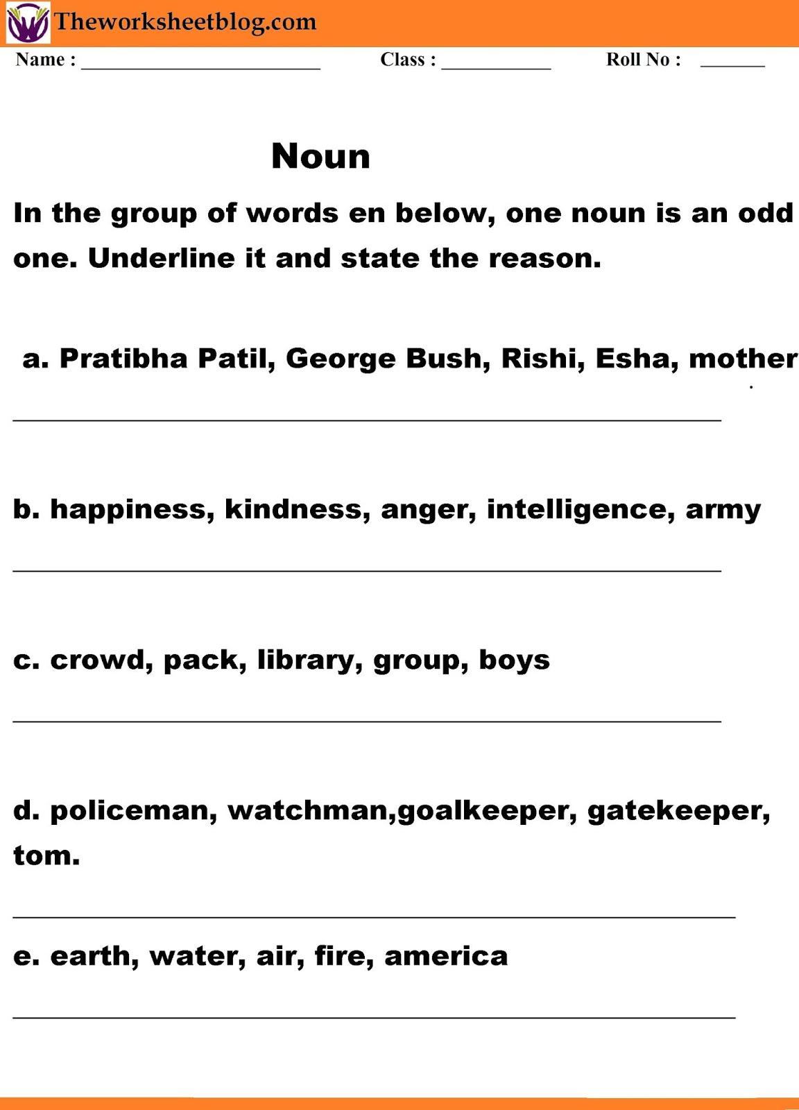 hight resolution of Noun Worksheets - Theworksheetsblog