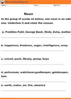 Noun and Kinds worksheets