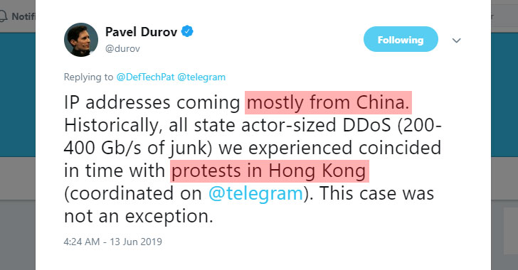 Telegram Suffers 'Powerful DDoS Attack' From China During Hong Kong Protests