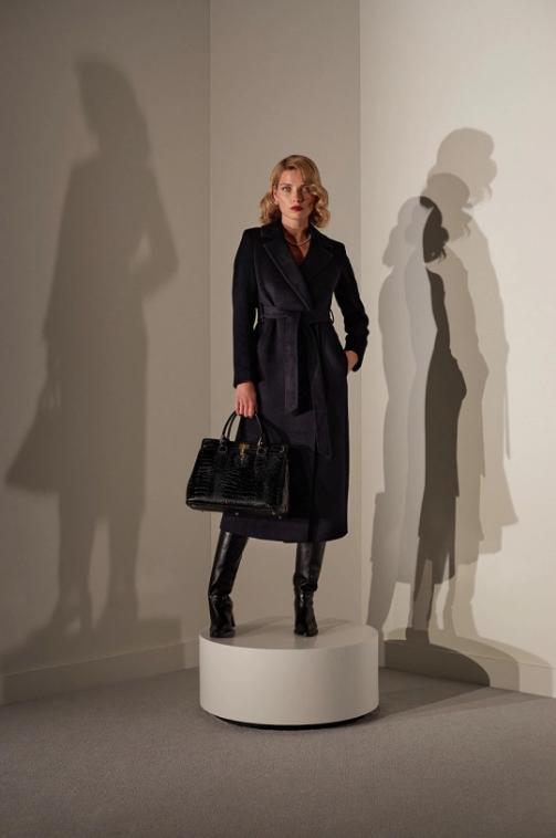 Palton dama negru din lana lung elegant answear.LAB limited collection