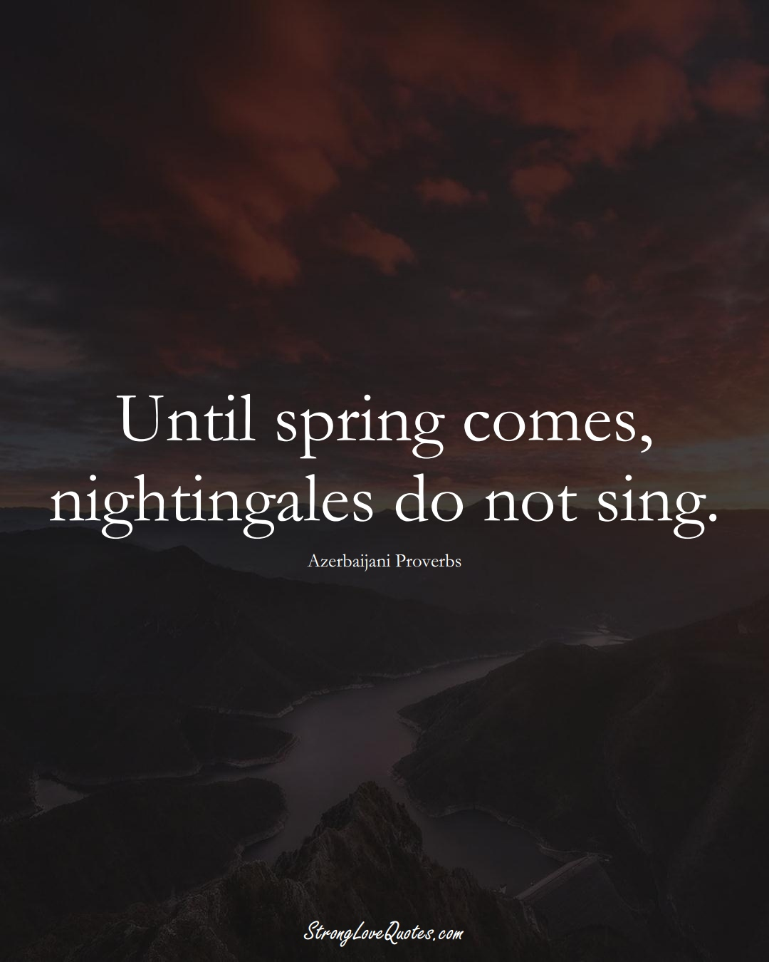 Until spring comes, nightingales do not sing. (Azerbaijani Sayings);  #AsianSayings