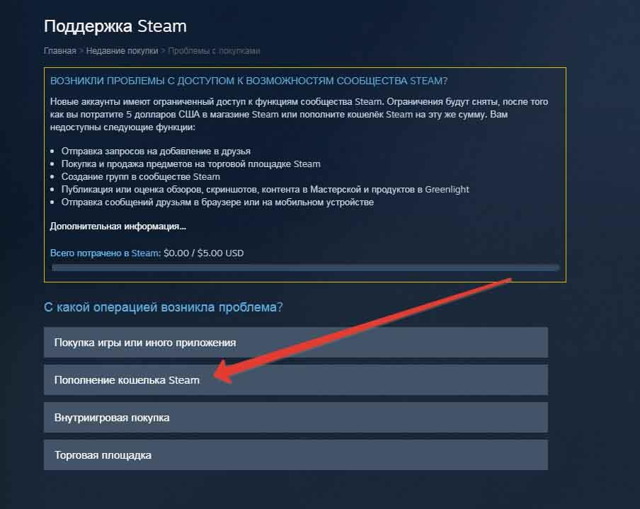 Как написать в техподдержку Steam