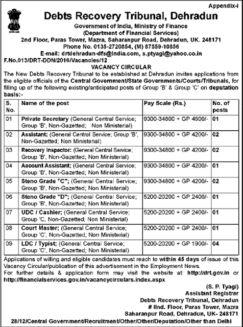 drt.gov.in Dehradun Recruitment