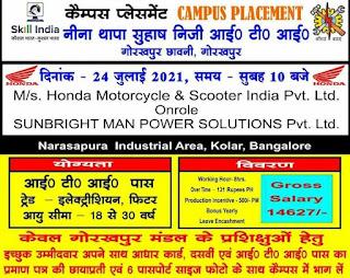 ITI Jobs Campus Placement  For Honda Motorcycle & Scooter India Pvt. Ltd At Neena Thapa Suhash Private ITI, Gorakhpur, Uttar Pradesh