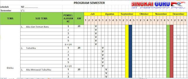 Program Pembelajaran Semester Promes Kelas 1 Sd Kurikulum 2013 Tp 2018 2019 Xlsx Bingkaiguru